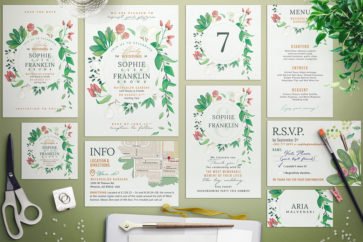 Download Free Wedding Suite X Lovely Greenery I Graphic By Lavie1blonde for Cricut Explore, Silhouette and other cutting machines.