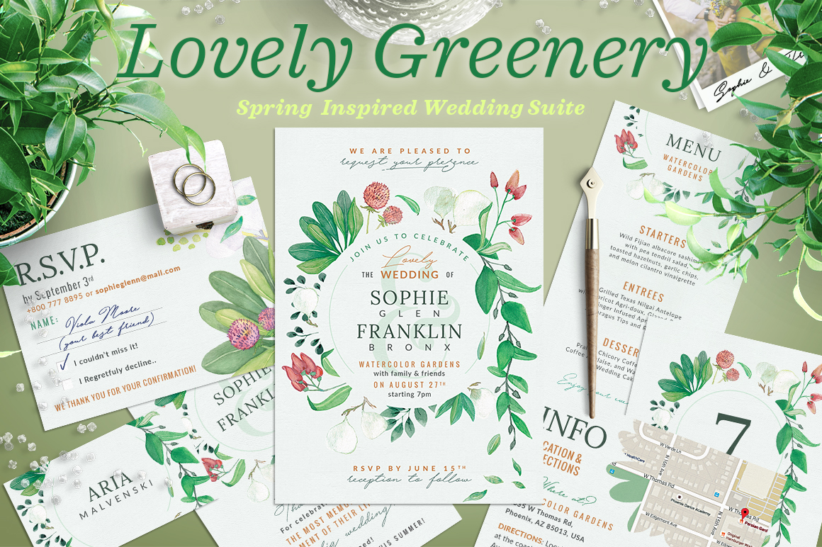 Wedding Suite X - Lovely Greenery I Graphic By lavie1blonde