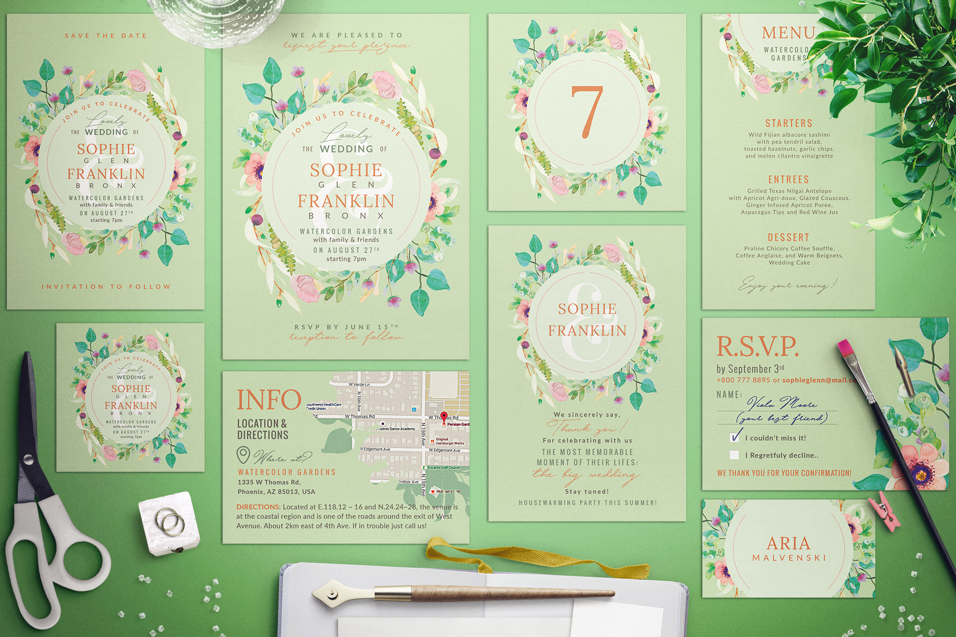 Wedding Suite XI Lovely Greenery III Graphic Print Templates By lavie1blonde - Image 2