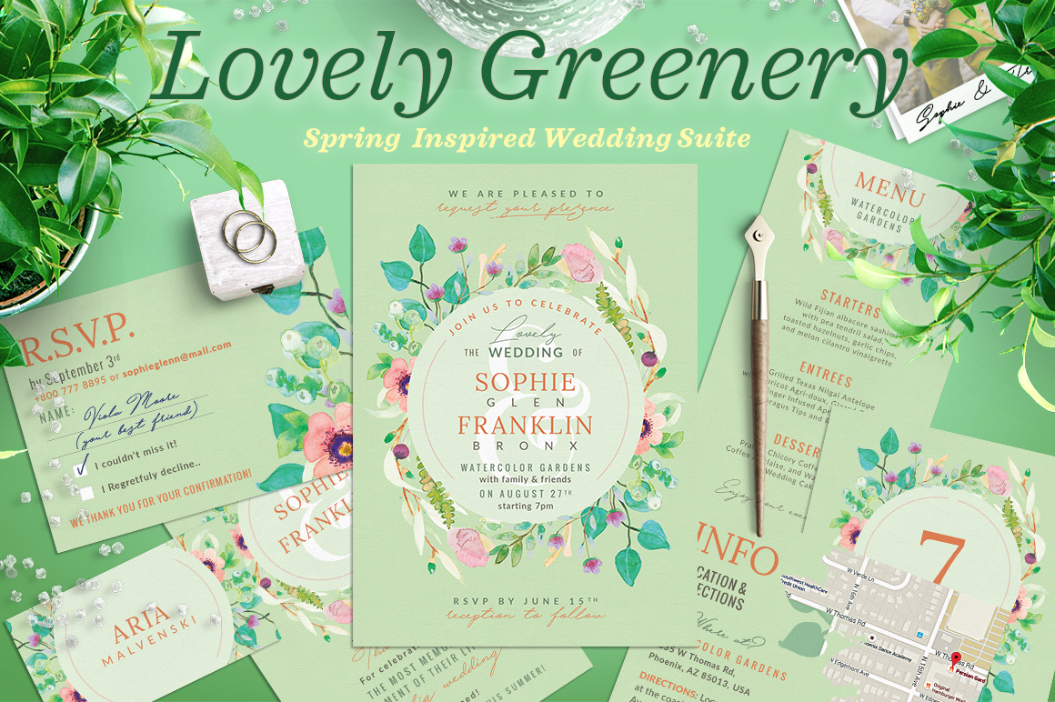 Wedding Suite XI Lovely Greenery III Graphic Print Templates By lavie1blonde - Image 1