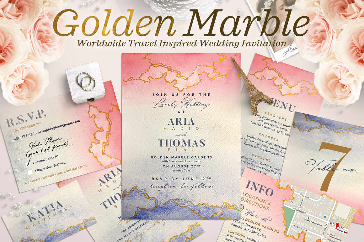 Print on Demand: Wedding Suite XII - Golden Marble I Graphic Print Templates By lavie1blonde