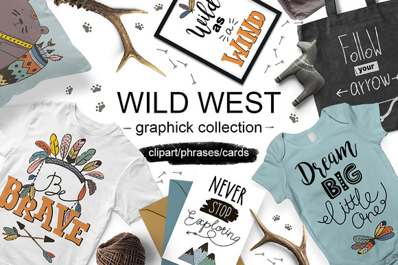 Wild West Graphic Collection Graphic Illustrations By ekaterinakiriy