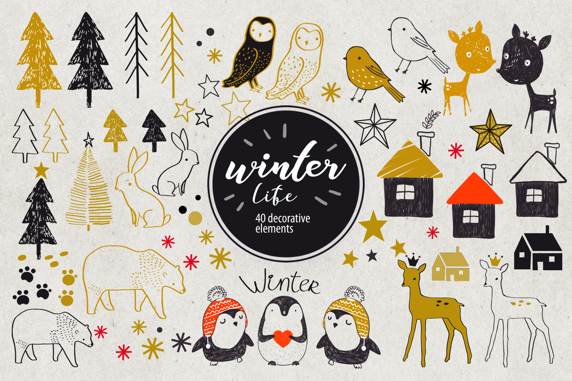 Winter Life (40 Decorative Elements) Graphic Graphic Templates By sto-va
