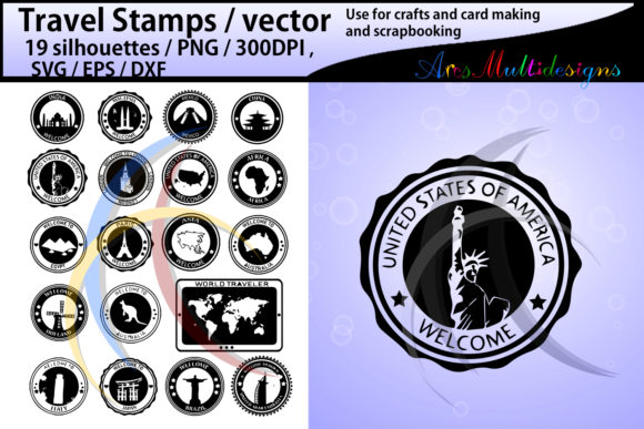 Print on Demand: 19 Travel Stamps Graphic Crafts By Arcs Multidesigns