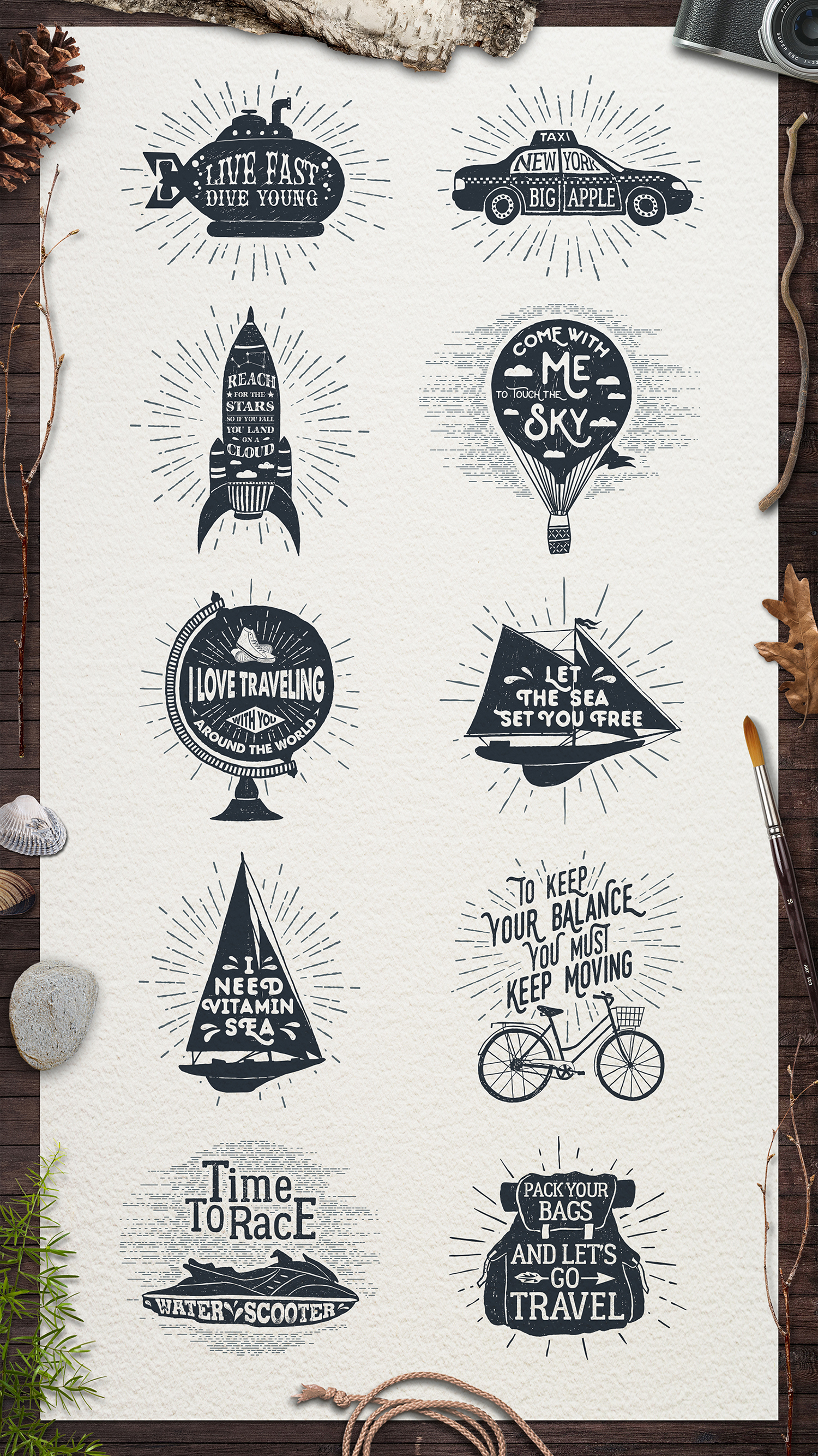 Download Free Adventure Vintage Badges Graphic By Cosmic Store Creative Fabrica for Cricut Explore, Silhouette and other cutting machines.
