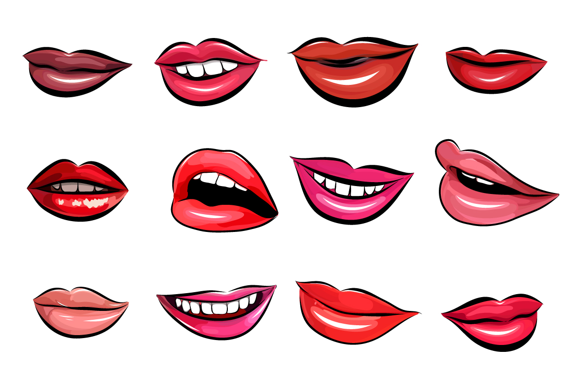 Download Free 12 Lips Set Graphic By Alisared87 Creative Fabrica for Cricut Explore, Silhouette and other cutting machines.