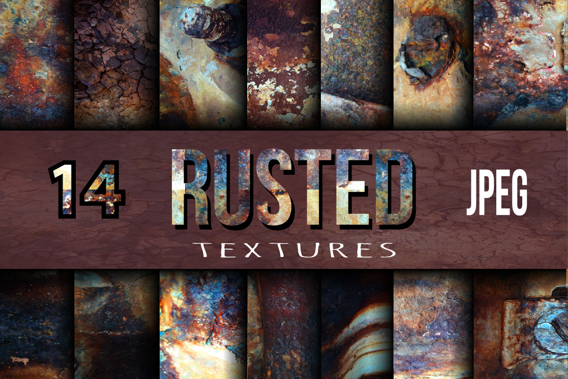 14 Rusted Textures Set. Graphic Textures By alisared87