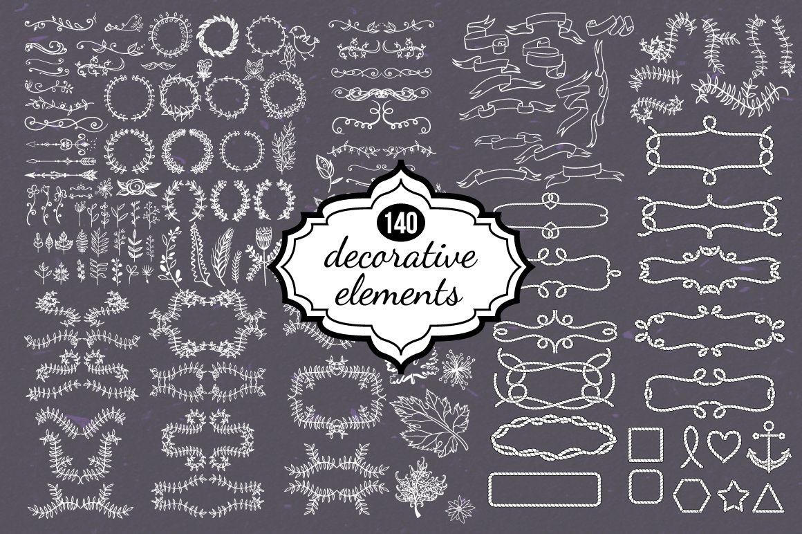 140 Decorative Elements Graphic Illustrations By alisared87