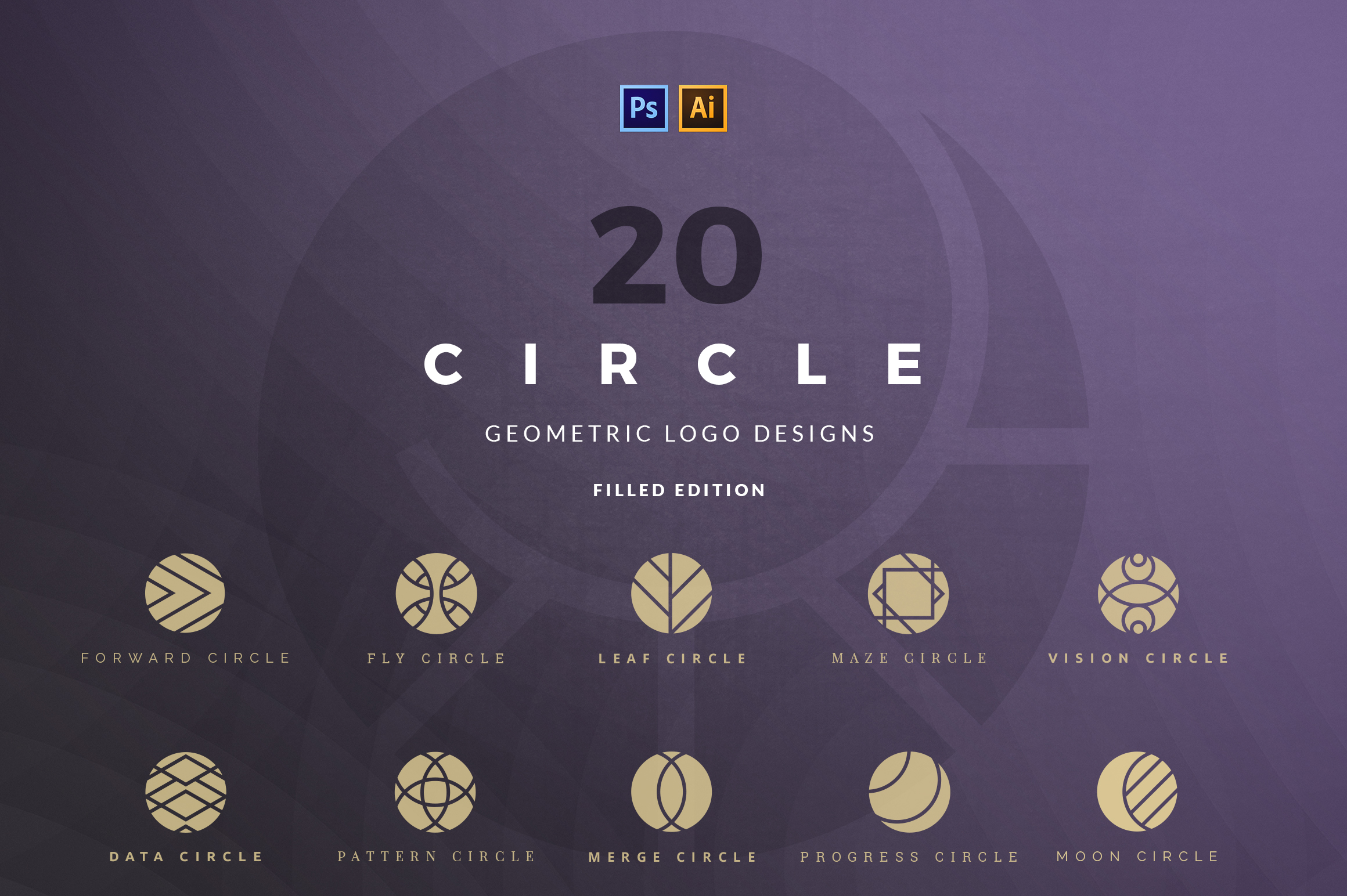 20 Circle Geometric Logos - Filled Grafik von vladfedotovv