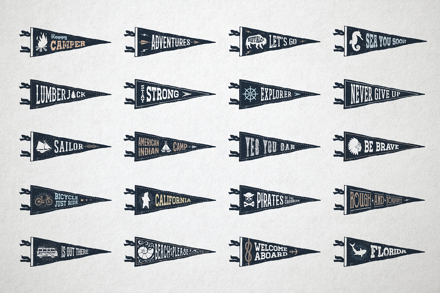 Print on Demand: 20 Hand Drawn Pennant Flags Graphic Objects By Cosmic Store - Image 3