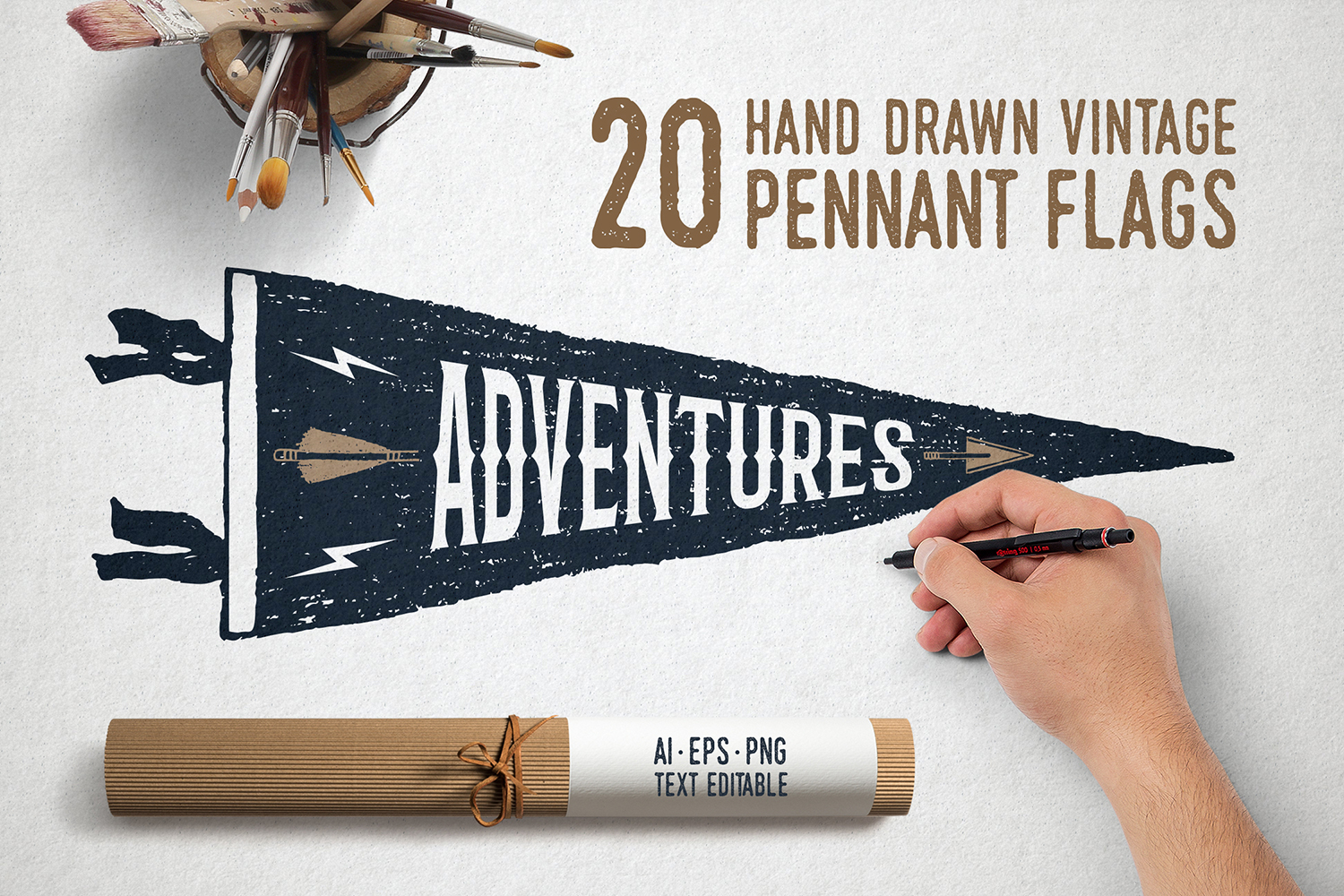 Print on Demand: 20 Hand Drawn Pennant Flags Graphic Objects By Cosmic Store