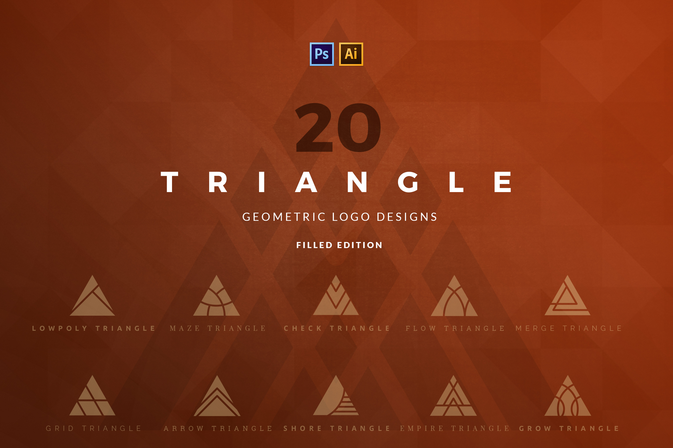 20 Triangle Logos - Filled Edition Gráfico Por vladfedotovv