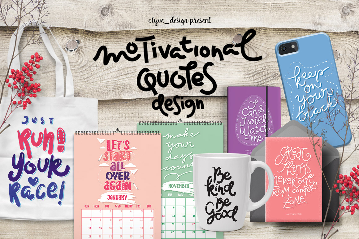 2018 Calendar, New Year's Greeting Cards and Motivational Quotes Designs Graphic Crafts By Caoca Studios