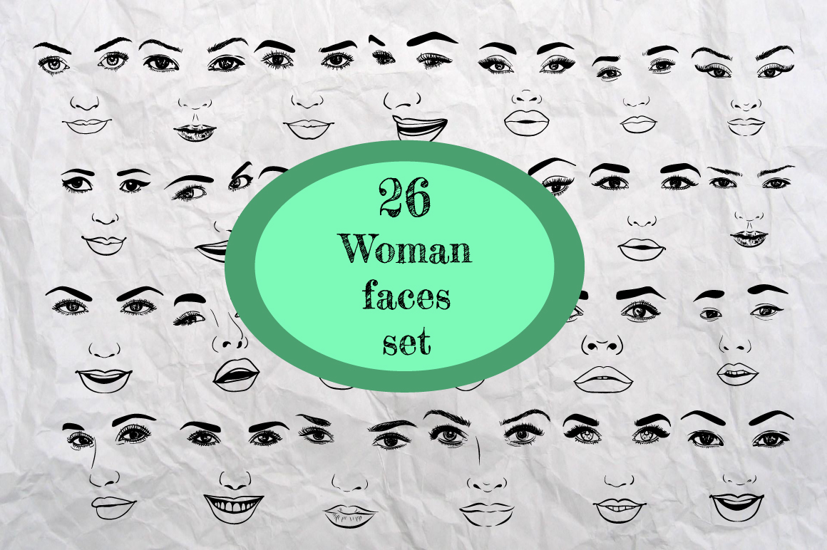 26 Woman Faces Set Graphic Illustrations By alisared87
