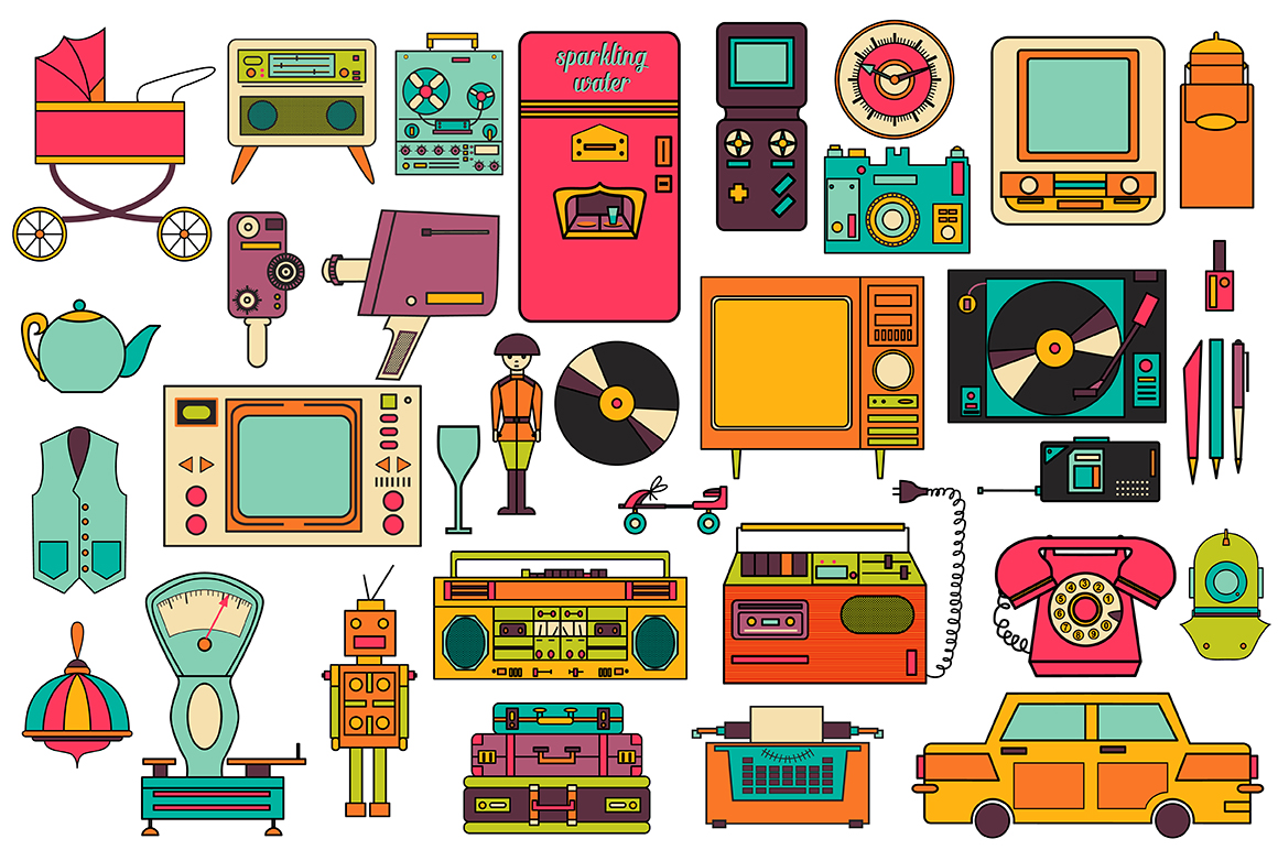 32 Retro Icons 80-90s Collection Graphic Icons By alisared87 - Image 2