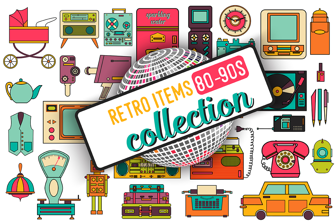 32 Retro Icons 80-90s Collection Graphic Icons By alisared87