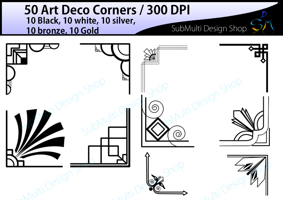 Print on Demand: 50 Art Deco Corners Graphic Illustrations By Arcs Multidesigns