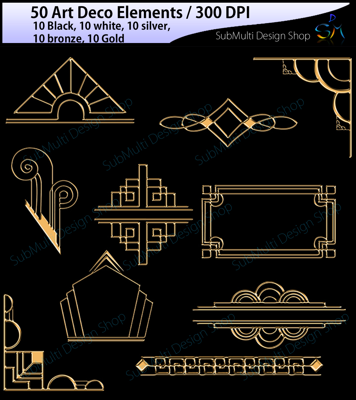 50 art deco elements graphic by arcs multidesigns - Art deco design elements ...