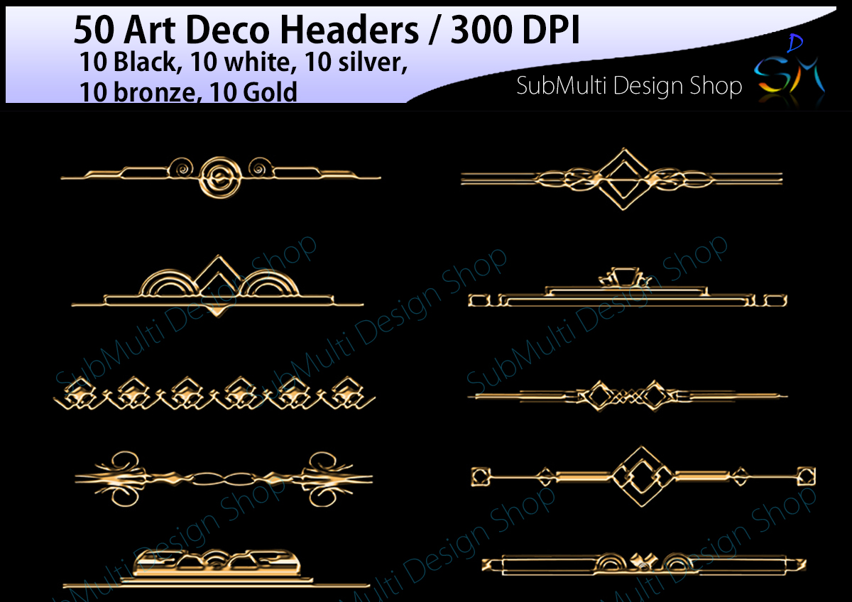 Print on Demand: 50 Art Deco Headers Graphic Crafts By Arcs Multidesigns