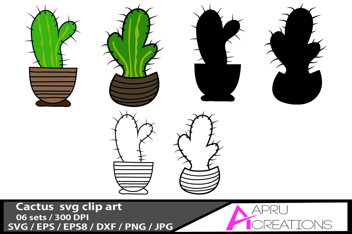 Download Free 6 Cactus Illustrations Graphic By Aparnastjp Creative Fabrica for Cricut Explore, Silhouette and other cutting machines.