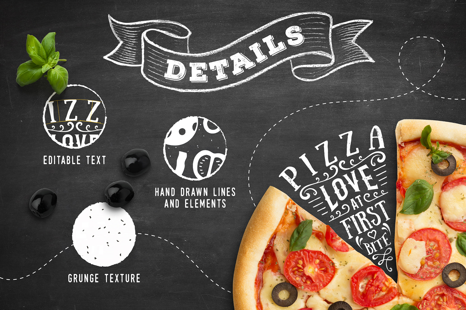6 Hand Drawn Pizza Slice Badges Graphic Illustrations By Cosmic Store - Image 3