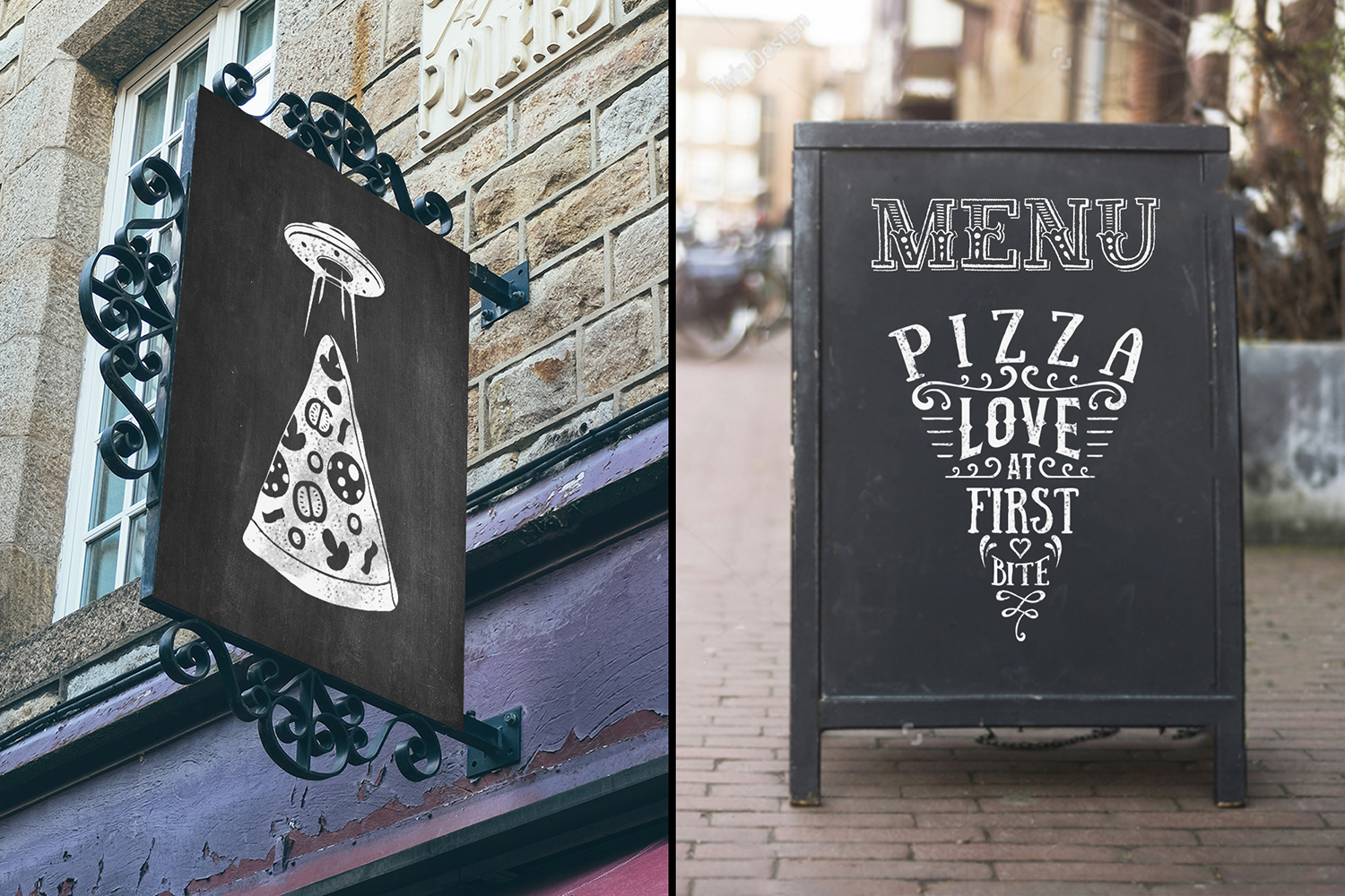 6 Hand Drawn Pizza Slice Badges Graphic Illustrations By Cosmic Store - Image 6