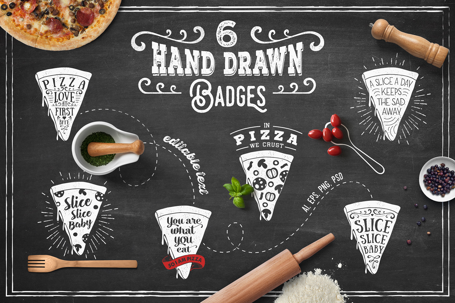 Print on Demand: 6 Hand Drawn Pizza Slice Badges Graphic Illustrations By Cosmic Store