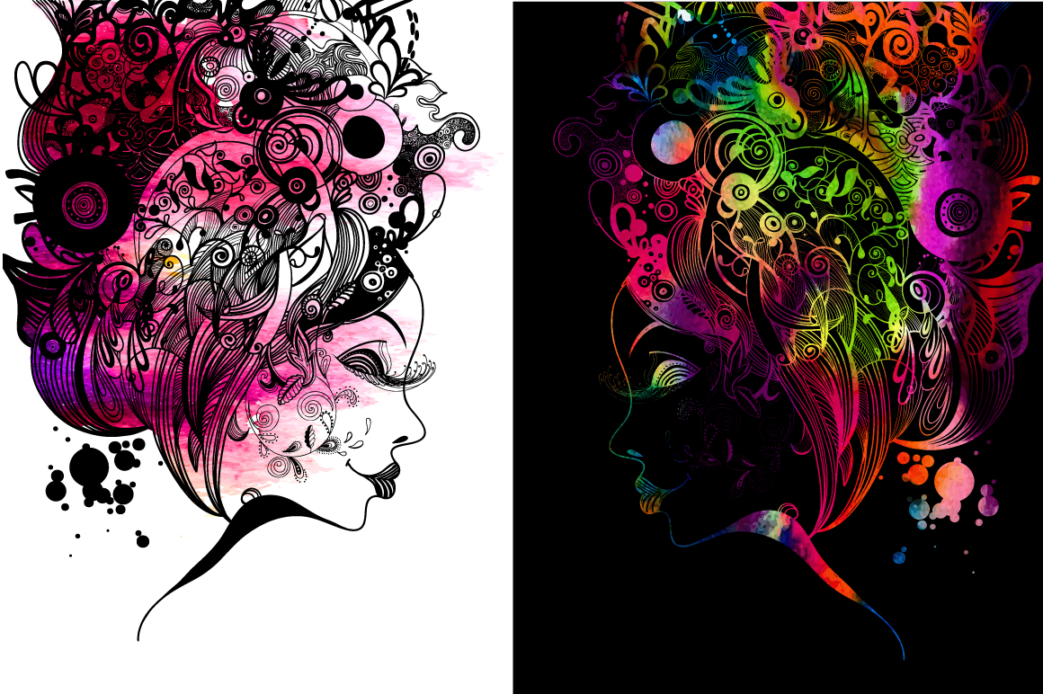 6 Woman Zentangle Inspired Portrait Graphic Illustrations By alisared87