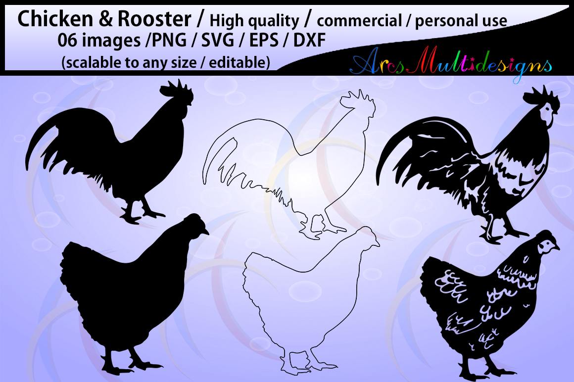 Print on Demand: 6 Chicken and Rooster Silhouettes Gráfico Crafts Por Arcs Multidesigns