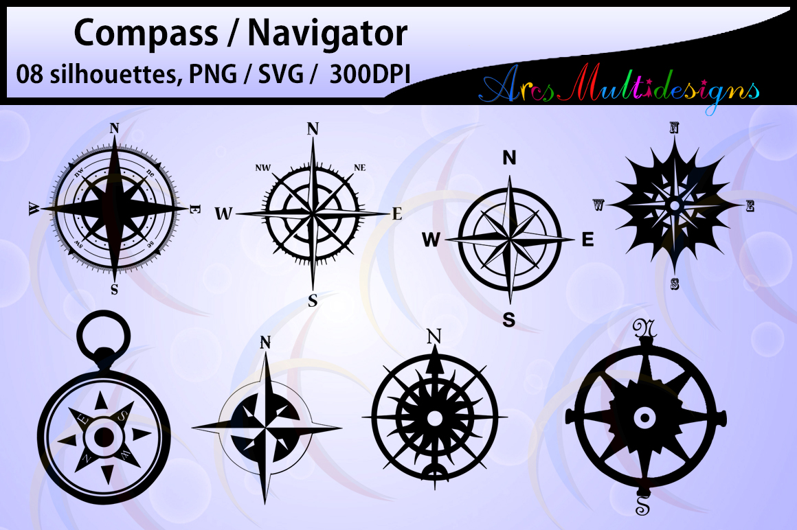 Print on Demand: 8 Compass Silhouettes Graphic Crafts By Arcs Multidesigns