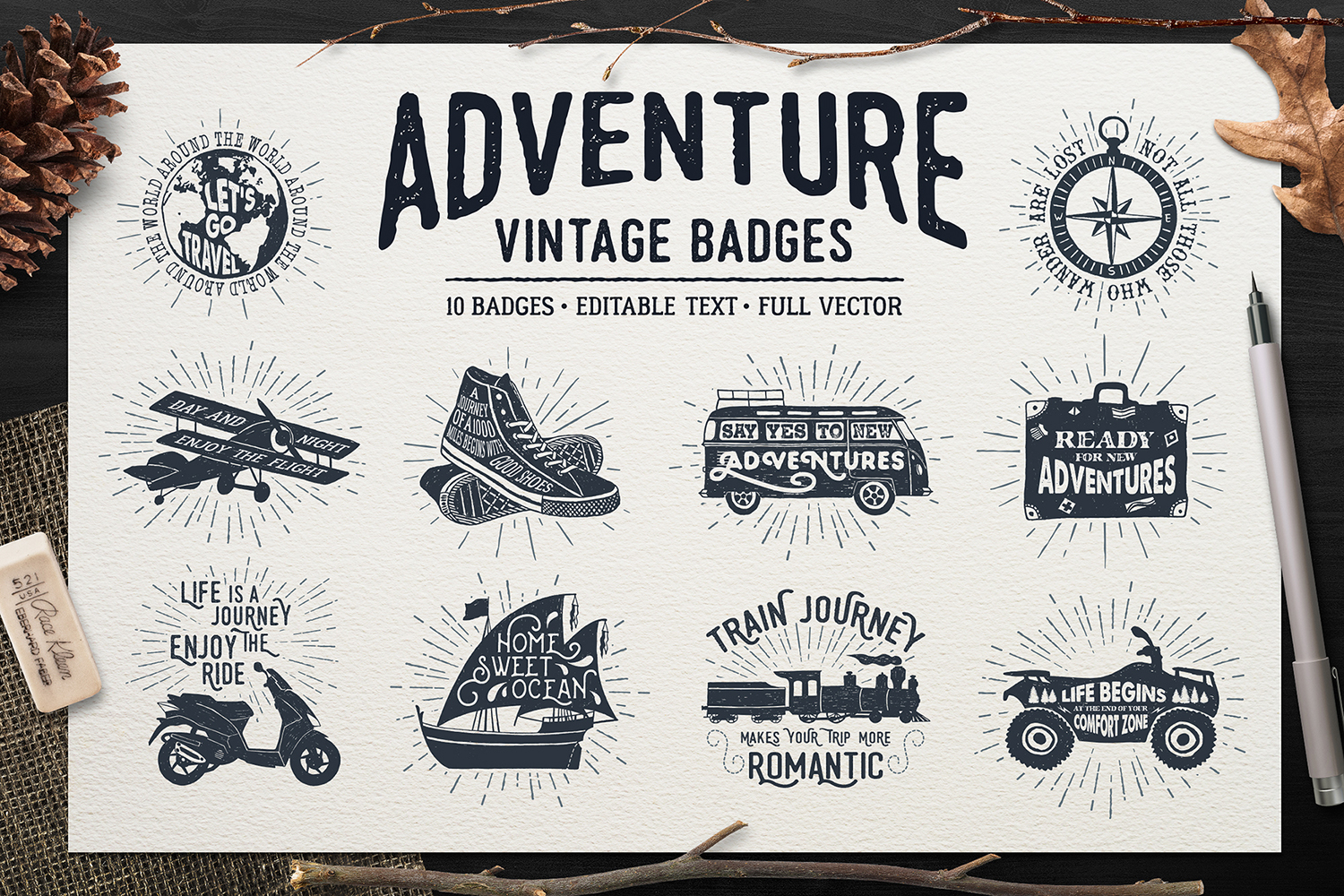 Print on Demand: Adventure Vintage Badges Graphic Illustrations By Cosmic Store