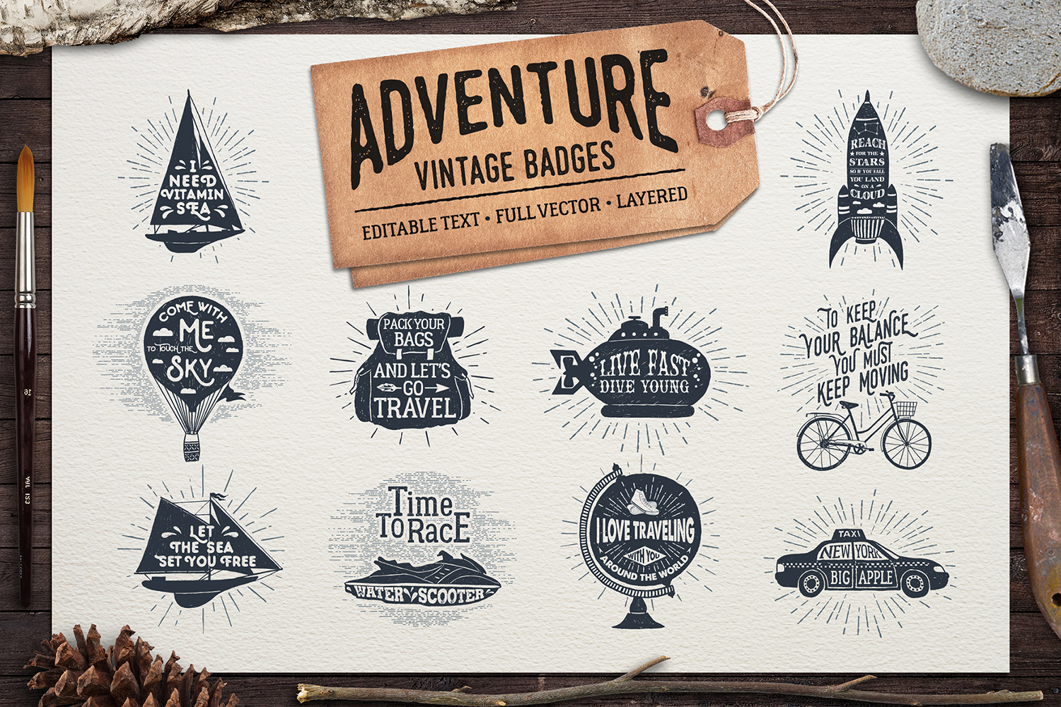 Print on Demand: Adventure Vintage Badges Graphic Logos By Cosmic Store