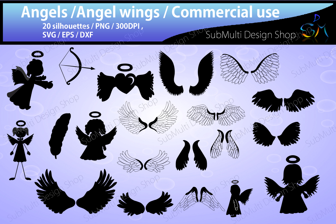 Print on Demand: Angel Silhouette Graphic Crafts By Arcs Multidesigns