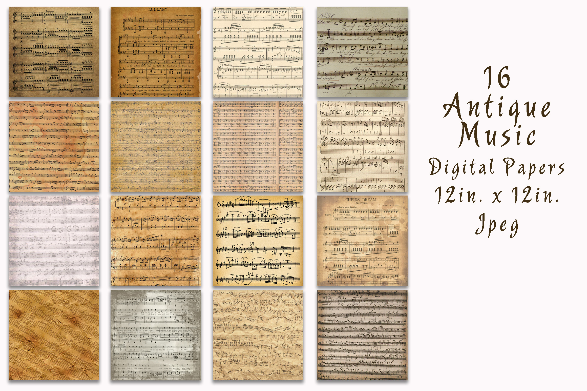 Print on Demand: Antique Music Digital Papers Graphic Backgrounds By oldmarketdesigns - Image 2