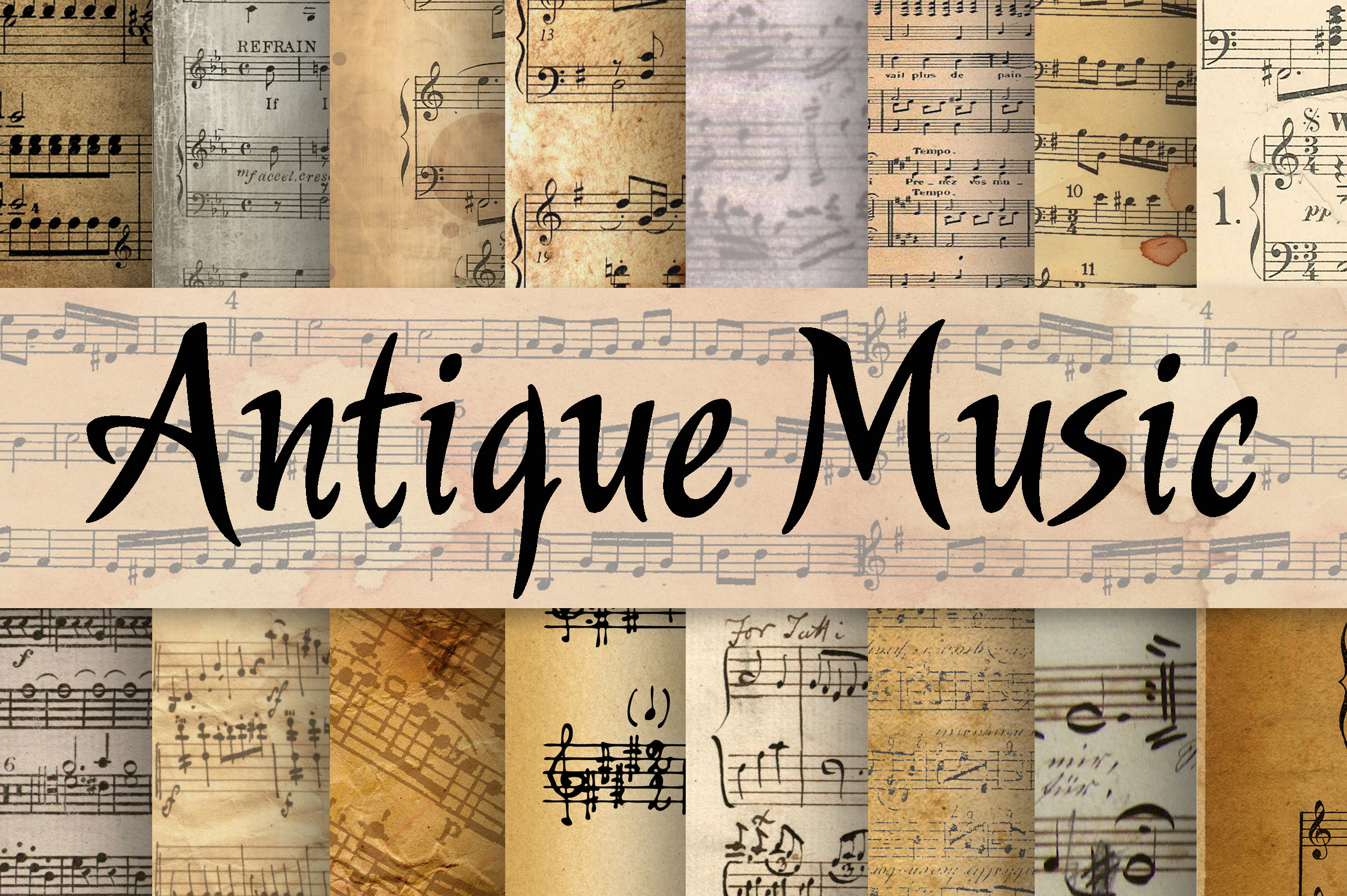 Print on Demand: Antique Music Digital Papers Graphic Backgrounds By oldmarketdesigns