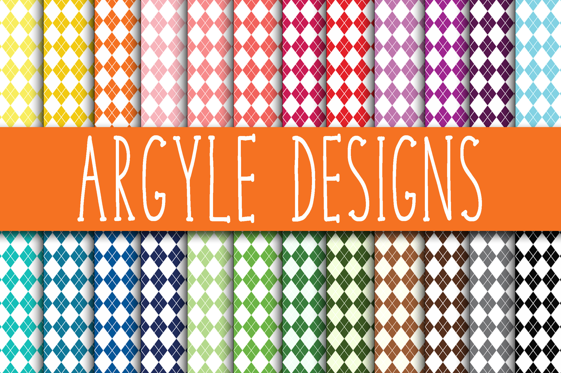 Print on Demand: Argyle Digital Papers Graphic Backgrounds By oldmarketdesigns