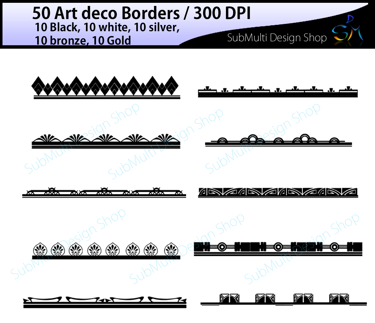 Print on Demand: Art Deco Borders Graphic Illustrations By Arcs Multidesigns
