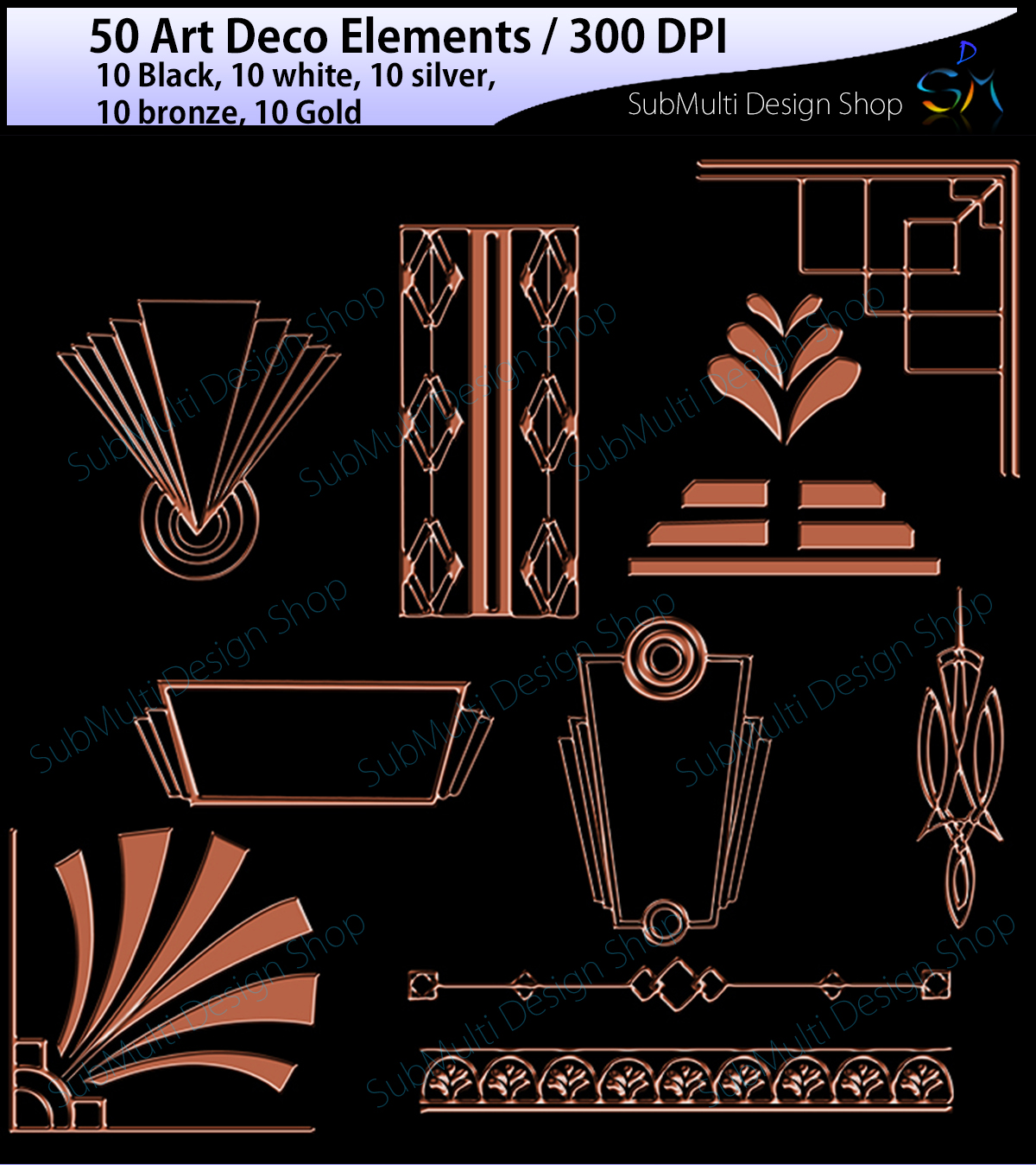 Download Free Art Deco Elements Graphic By Arcs Multidesigns Creative Fabrica for Cricut Explore, Silhouette and other cutting machines.