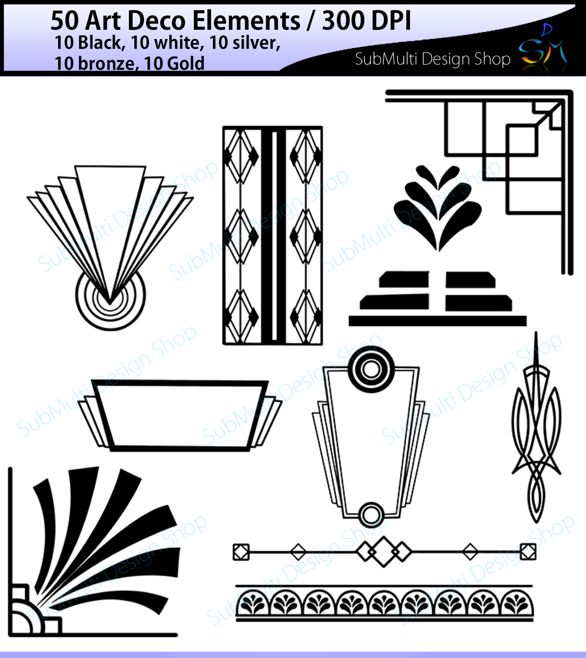 Print on Demand: Art Deco Elements Gráfico Ilustraciones Por Arcs Multidesigns