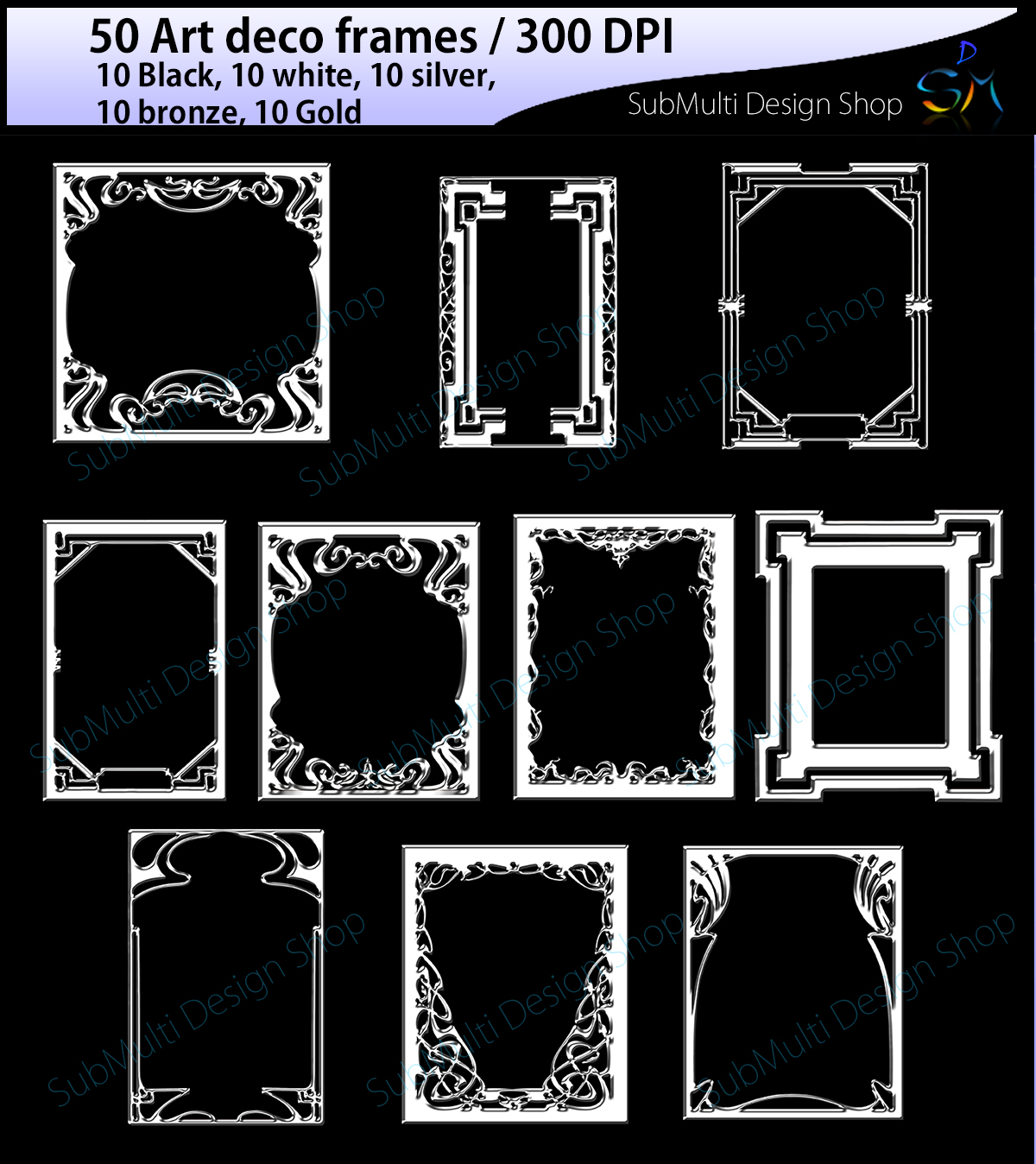 Print on Demand: Art Deco Frames Graphic Illustrations By Arcs Multidesigns