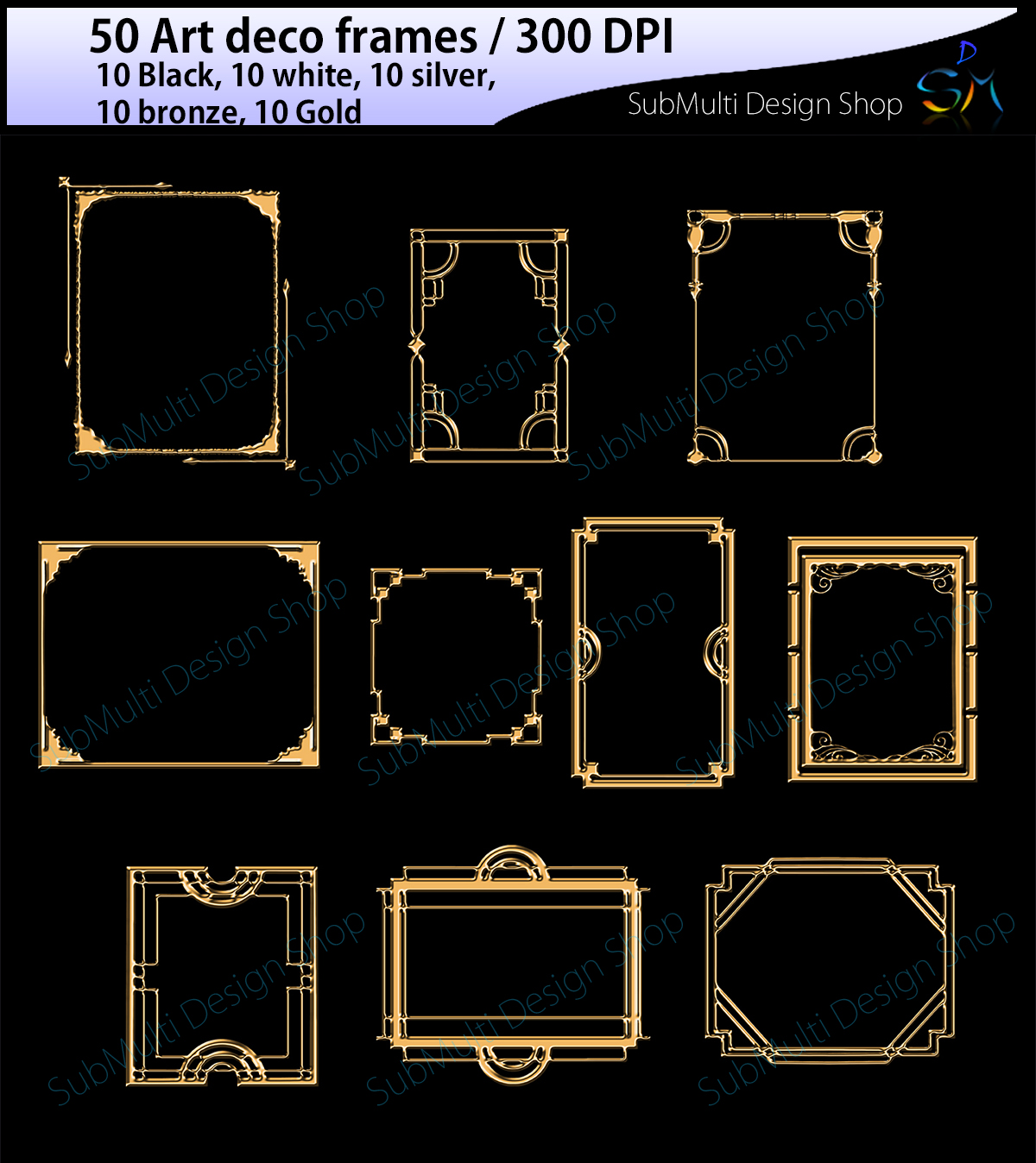 Download Free Art Deco Frames Graphic By Arcs Multidesigns Creative Fabrica for Cricut Explore, Silhouette and other cutting machines.