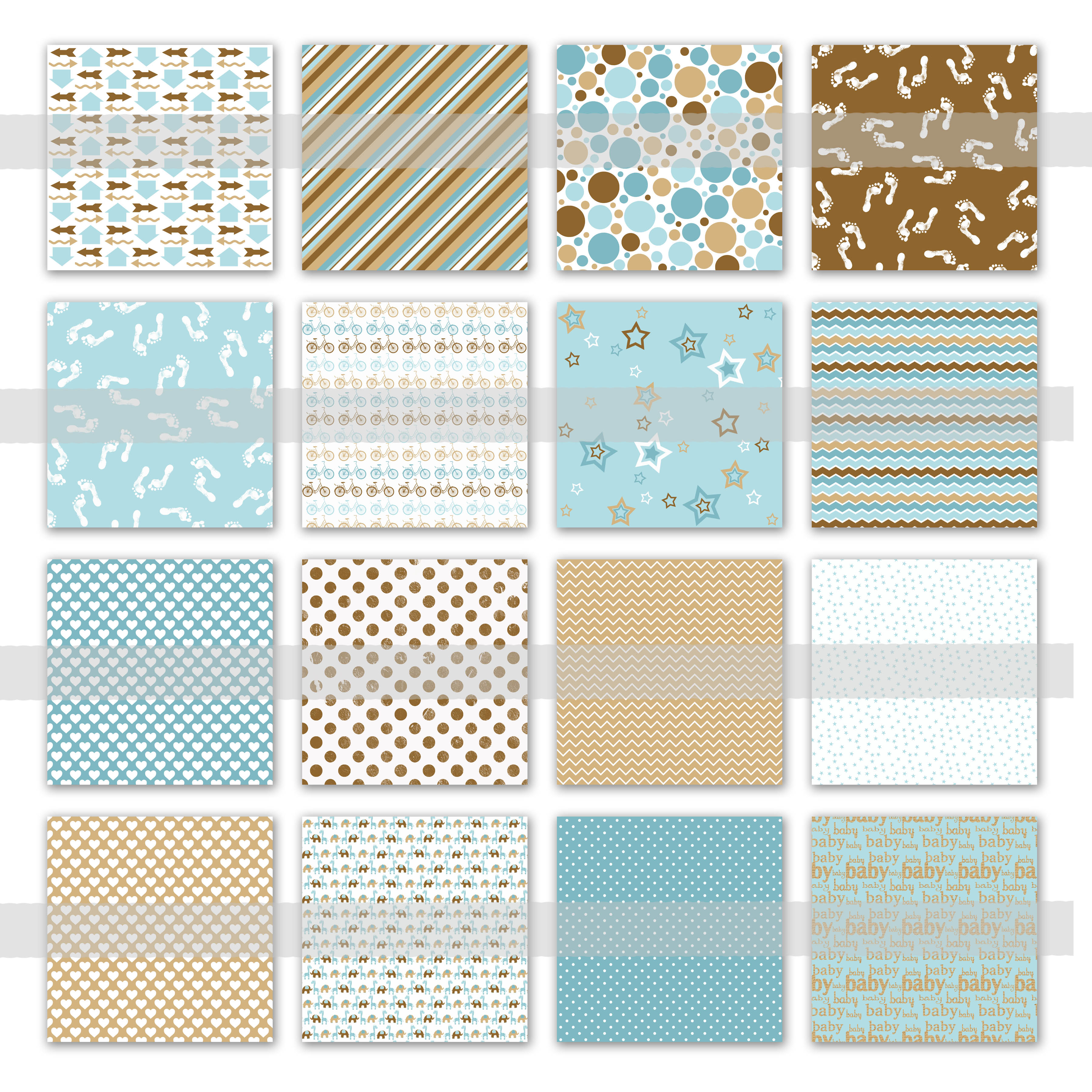 Baby Boy Digital Paper in Blues and Browns Graphic Backgrounds By oldmarketdesigns - Image 2