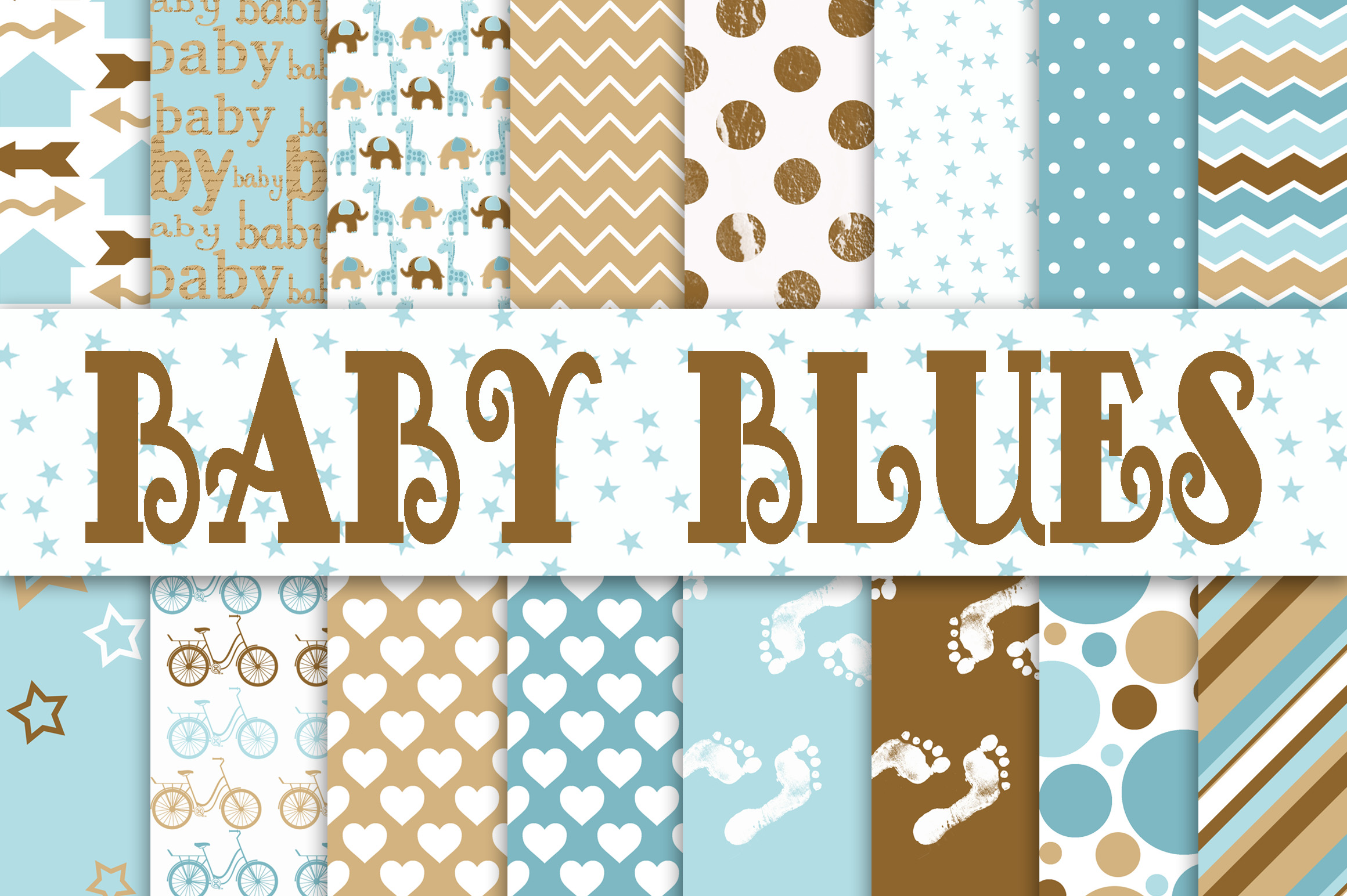 Print on Demand: Baby Boy Digital Paper in Blues and Browns Graphic Backgrounds By oldmarketdesigns