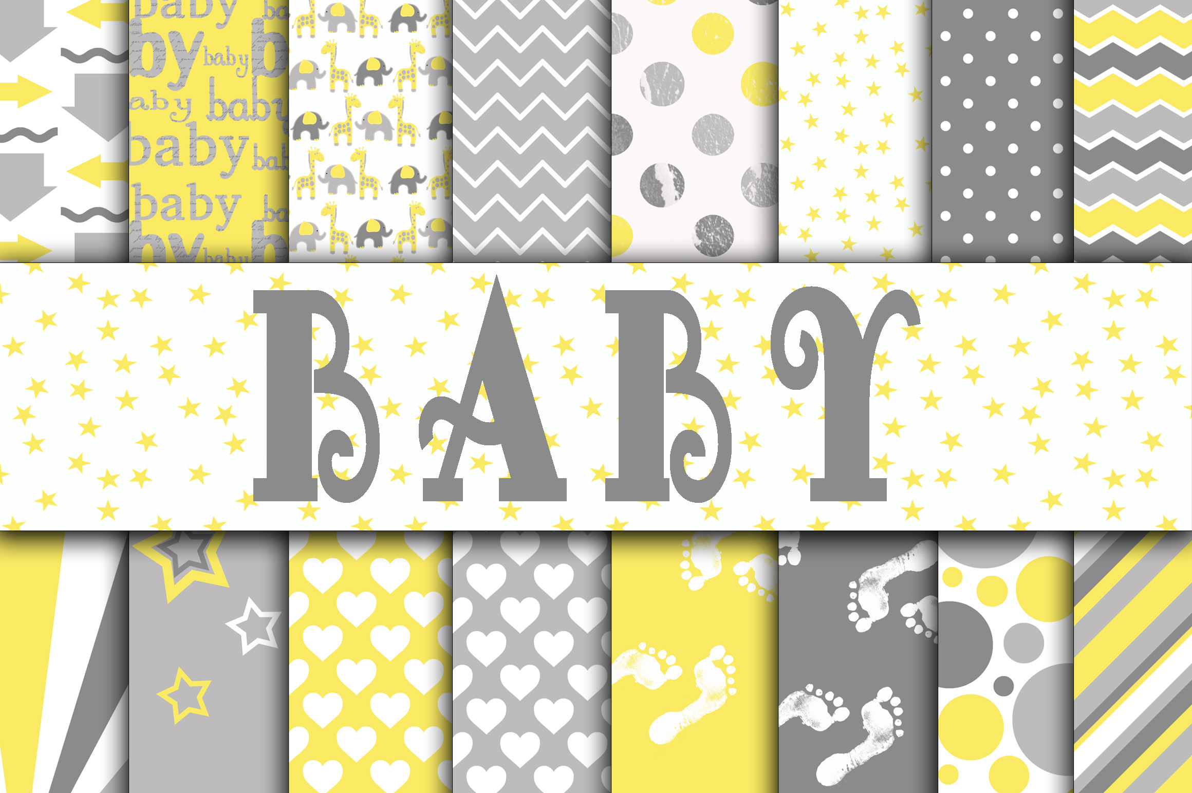 Print on Demand: Baby Boy Digital Paper in Grays and Yellow Graphic Backgrounds By oldmarketdesigns