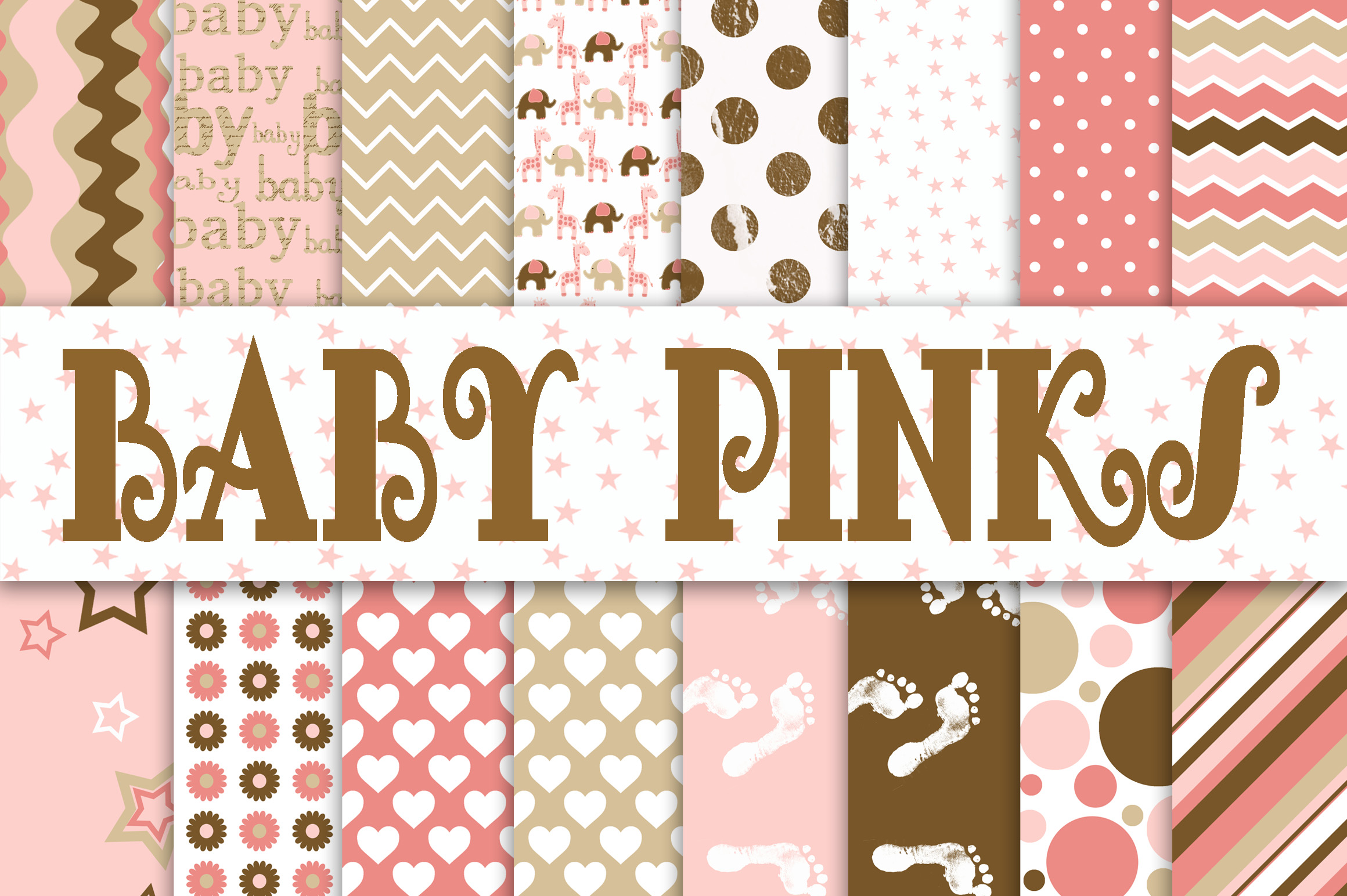Print on Demand: Baby Girl Digital Paper in Pinks and Browns Graphic Backgrounds By oldmarketdesigns