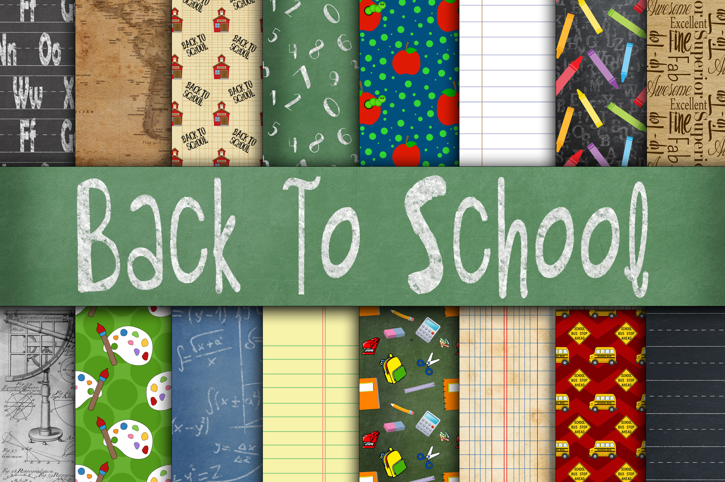 Print on Demand: Back to School Digital Paper Textures Graphic Backgrounds By oldmarketdesigns