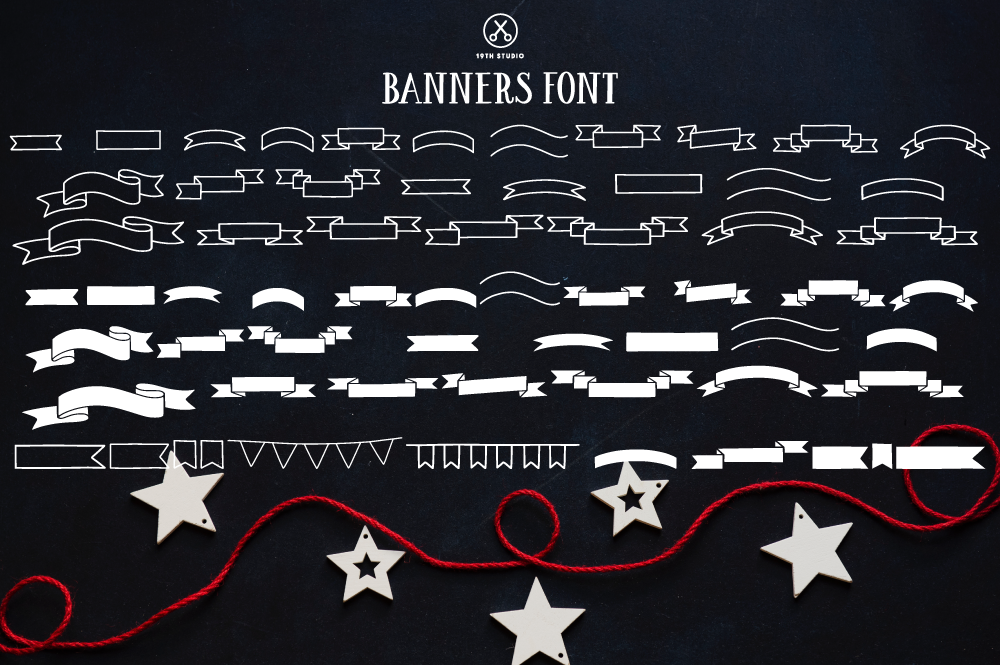 Print on Demand: Banners Decorative Font By 19th Studio SVG