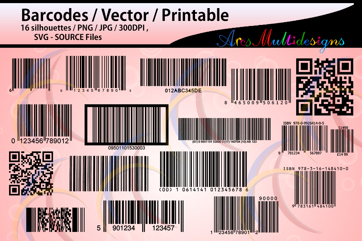 Print on Demand: Barcodes Silhouette Graphic Crafts By Arcs Multidesigns