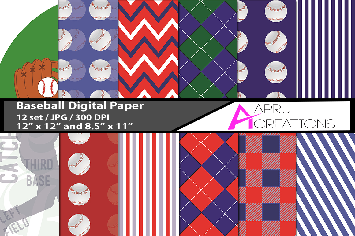Print on Demand: Baseball Digital Papers Graphic Patterns By aparnastjp