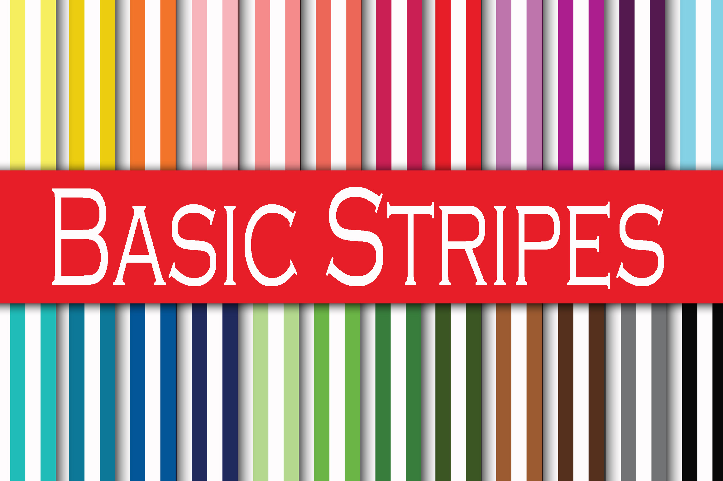 Print on Demand: Basic Stripes Digital Paper Graphic Backgrounds By oldmarketdesigns
